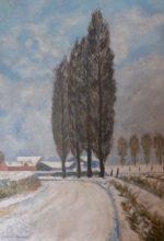 Flandres, route enneigée