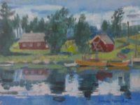 Norvège, hytter au bord de l'eau