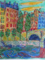 Paris, Ile Saint Louis aux couleurs vives